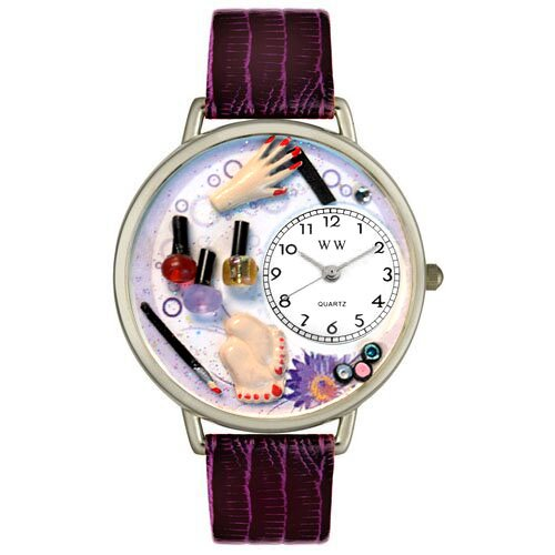 Whimsical Watches Unisex Nail Tech Silver Leather and Silvertone Watch in Silver
