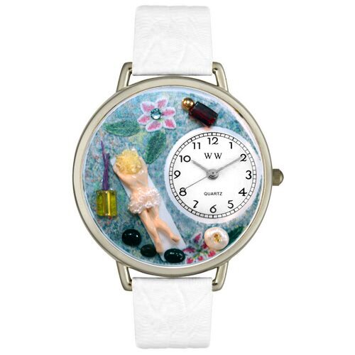 Unisex Massage Therapist White Leather and Silvertone Watch in Silver