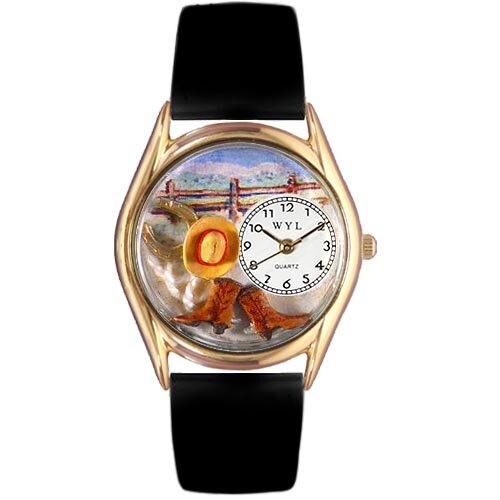Whimsical Watches Women's Ranch Black Leather and Gold Tone Watch