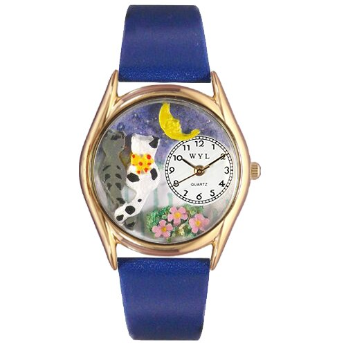 Whimsical Watches Women's Cats Night Out Royal Blue Leather and Gold Tone Watch
