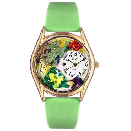 Women's Frogs Green Leather and Gold Tone Watch