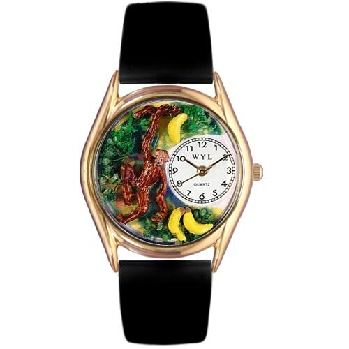 Whimsical Watches Women's Monkey Black Leather and Gold Tone Watch