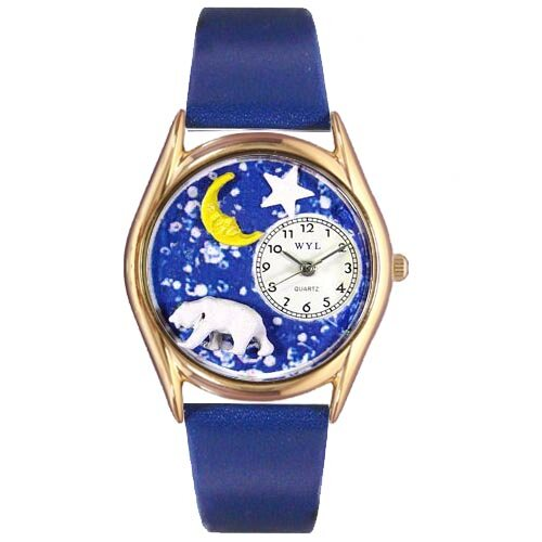 Whimsical Watches Women's Polar Bear Royal Blue Leather and Gold Tone Watch
