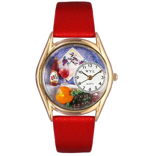 Whimsical Watches Women's Wine and Cheese Red Leather and Gold Tone Watch