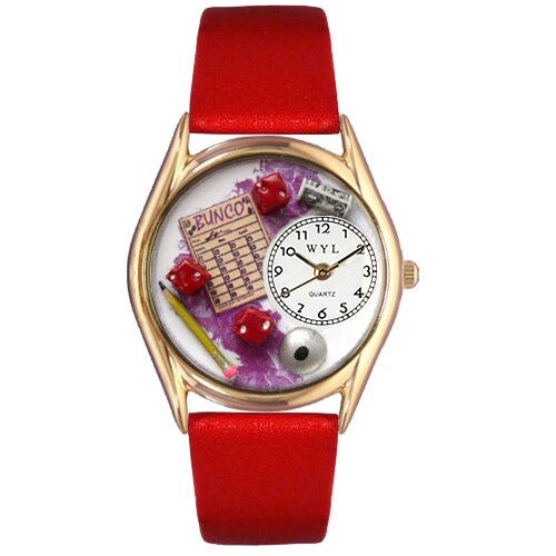 Women's Bunco Red Leather and Gold Tone Watch