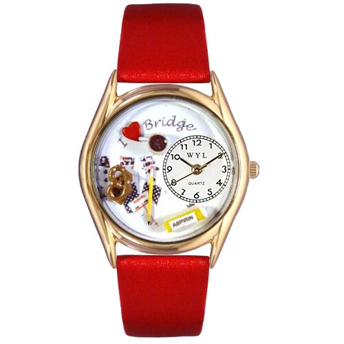Women's Bridge Red Leather and Gold Tone Watch