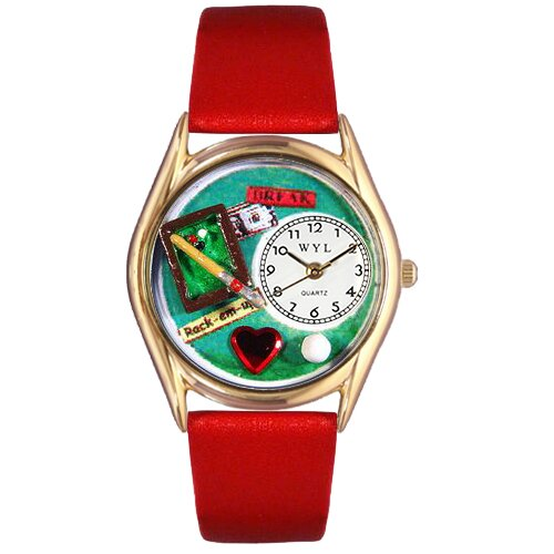 Women's Billiards Red Leather and Gold Tone Watch