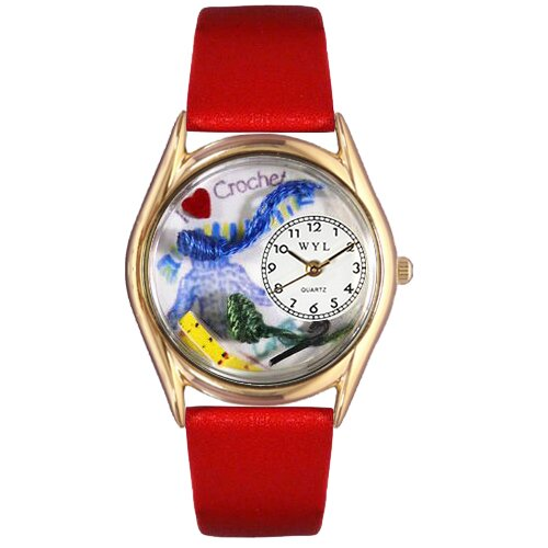 Women's Crochet Red Leather and Gold Tone Watch
