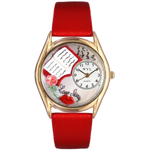 Women's Love Story Red Leather and Gold Tone Watch