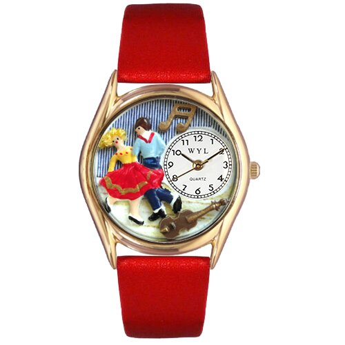 Women's Square Dancing Red Leather and Gold Tone Watch