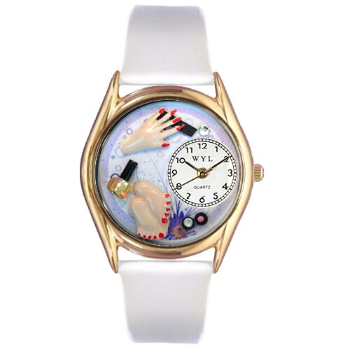 Women's Nail Tech Red Leather and Gold Tone Watch