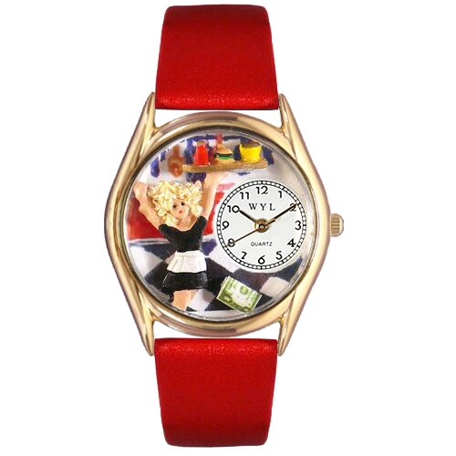 Women's Waitress Red Leather and Gold Tone Watch