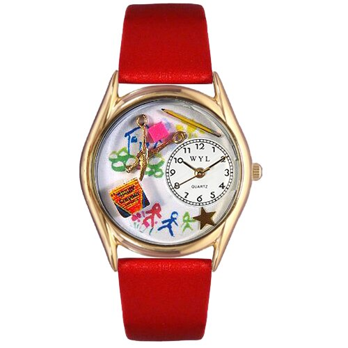 Women's Preschool Teacher Red Leather and Gold Tone Watch