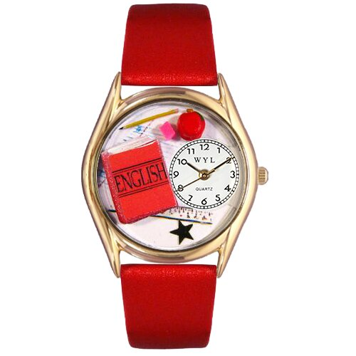 Women's English Teacher Red Leather and Gold Tone Watch