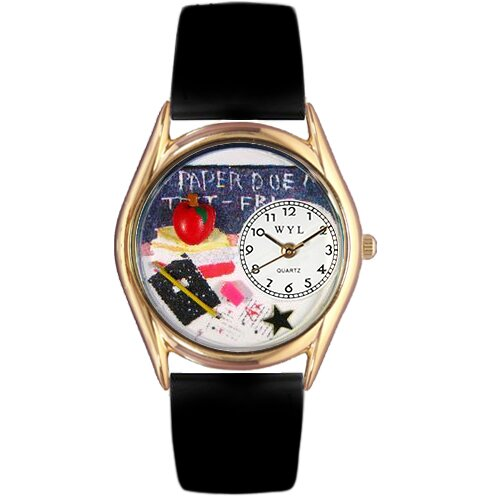 Women's Kindergarten Teacher Red Leather and Gold Tone Watch