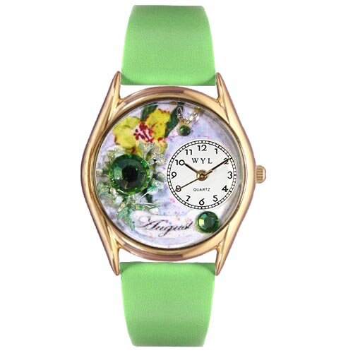 Women's Birthstone: August Green Leather and Gold Tone Watch