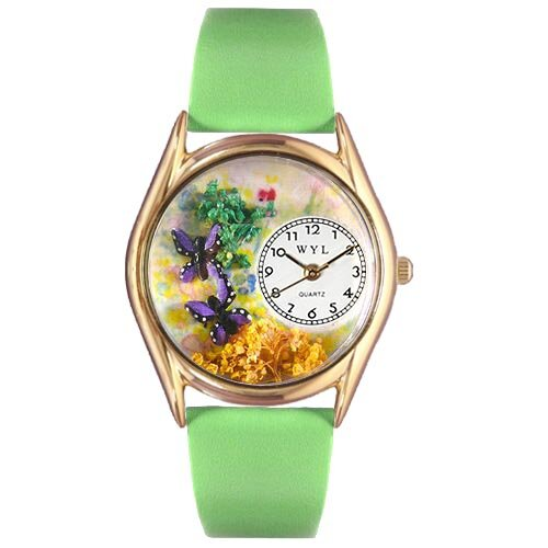 Women's Butterflies Green Leather and Gold Tone Watch