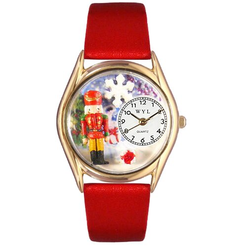 Women's Christmas Nutcracker Red Leather and Gold Tone Watch