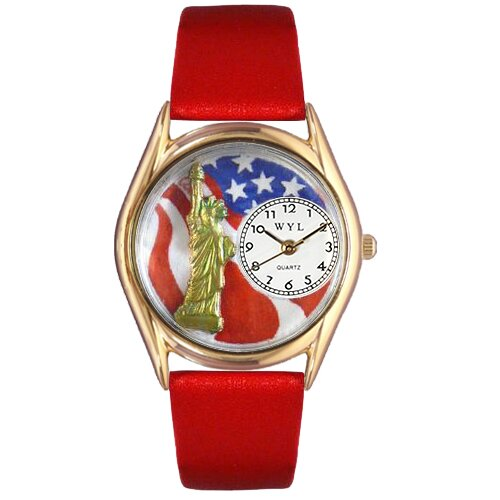 Women's July 4th Patriotic Red Leather and Gold Tone Watch