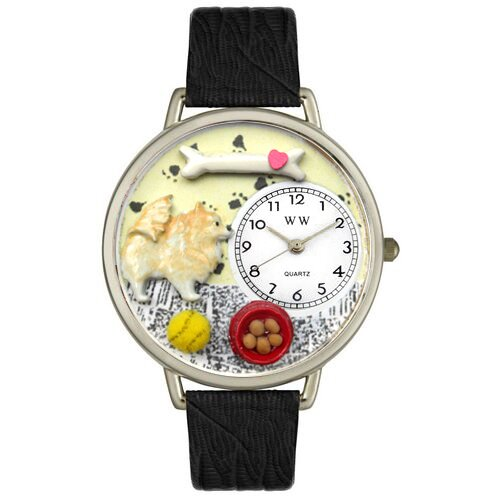 Whimsical Watches Unisex Pomeranian Black Skin Leather and Silver Tone Watch