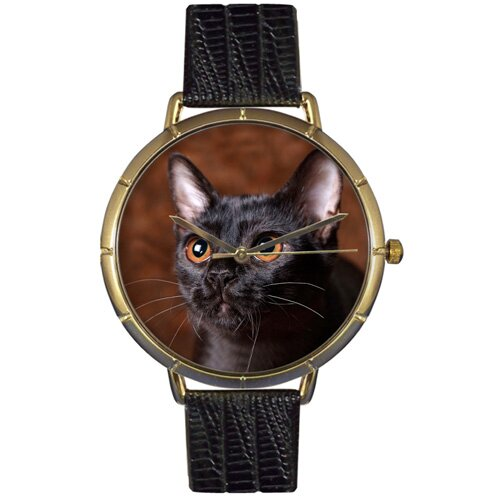 Whimsical Watches Unisex Bombay Cat Photo Watch with Black Leather