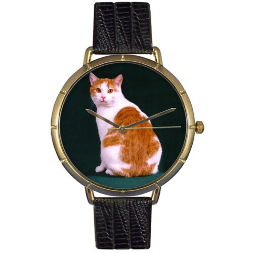 Whimsical Watches Unisex Manx Cat Photo Watch with Black Leather