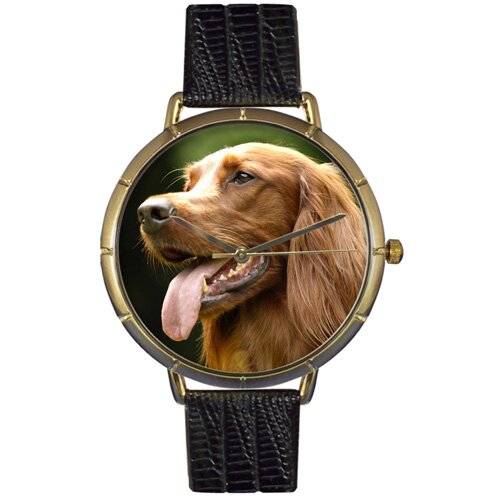 Whimsical Watches Unisex Irish Setter Photo Watch with Black Leather