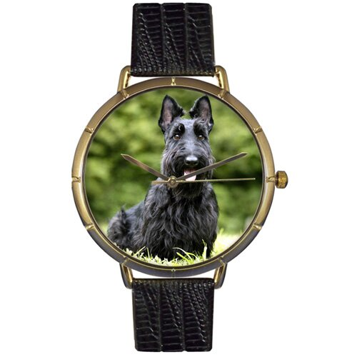 Whimsical Watches Unisex Scottie Photo Watch with Black Leather