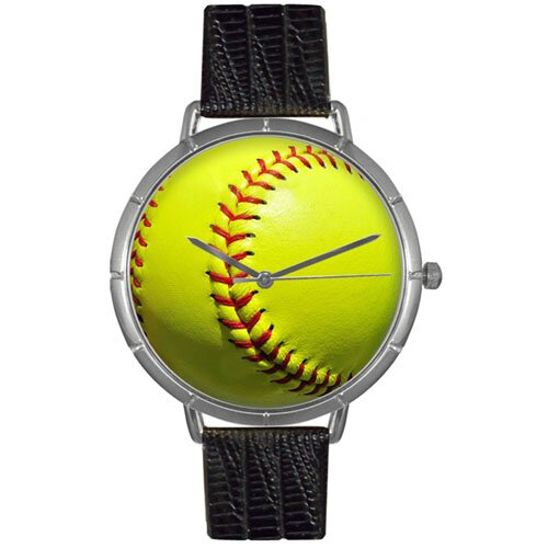 Whimsical Watches Unisex Softball Lover Photo Watch with Black Leather