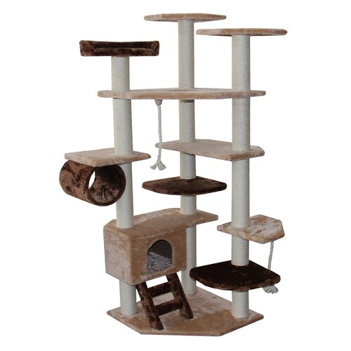 "Kitty Mansions 67"" Troy Cat Tree in Brown and Beige"