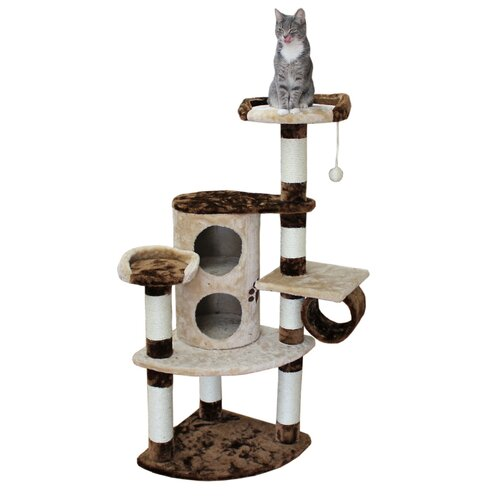"""Kitty Mansions 50"""" Nashville Cat Tree in Brown and Beige"""