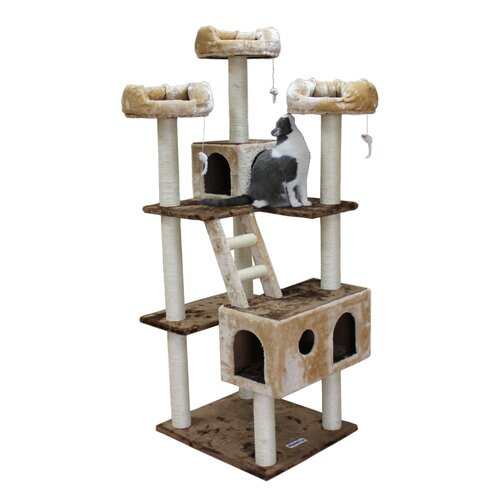 "Kitty Mansions 73"" Beverly Hills Cat Tree in Brown & Beige"