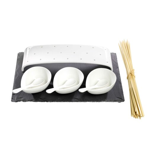 Luigi Bormioli Slate and Porcelain 8 Piece Serving Set