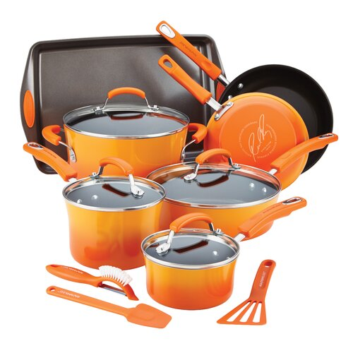 Hard Enamel Nonstick 14-Piece Cookware Set