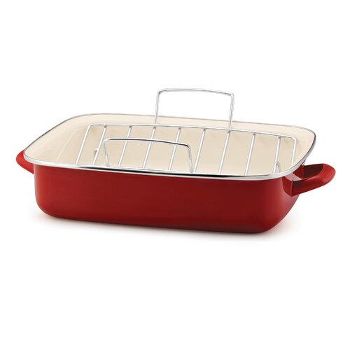 Rachael Ray Porcelain Enamel Open Roaster with V Shape Rack