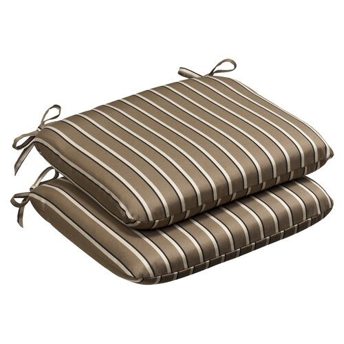 Pillow Perfect Outdoor Rounded Sunbrella Fabric Seat Cushion (Set of 2)