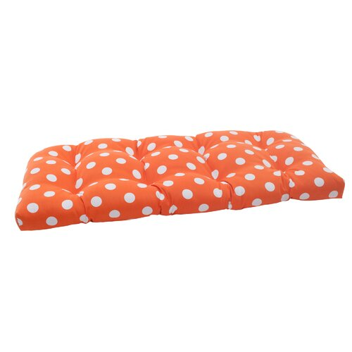 Pillow Perfect Polka Dot Wicker Loveseat Cushion