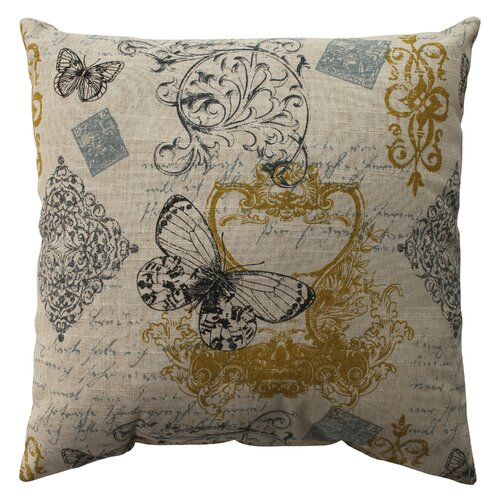 Pillow Perfect Butterfly Scroll Cotton Pillow