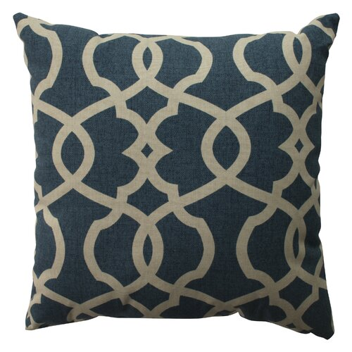 Wayfair Blue Decorative Pillows : Pillow Perfect Lattice Damask Cotton Throw Pillow & Reviews Wayfair