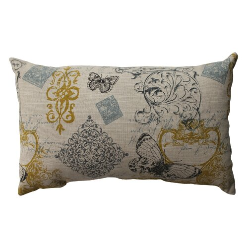 Pillow Perfect Butterfly Scroll Cotton Throw Pillow