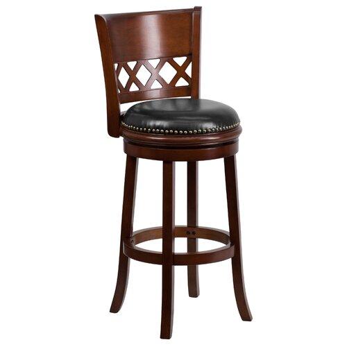 Flash Furniture 29'' Wood Bar Stool with Leather Swivel Seat