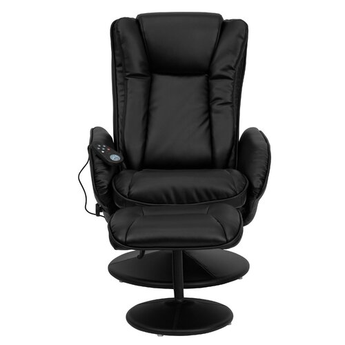 Flash Furniture Leather Heated Reclining Massage Chair Ottoman Set Amp