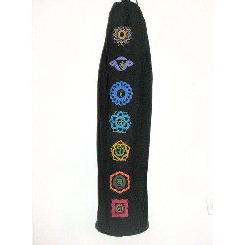 Printed Chakra Yoga Mat Bag in Black