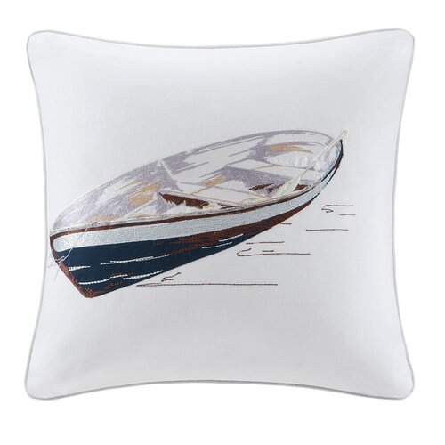Lake Side Square Pillow with Embroidery