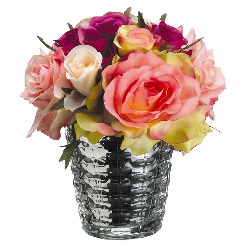 Confetti Rose in Silver Glass Vase