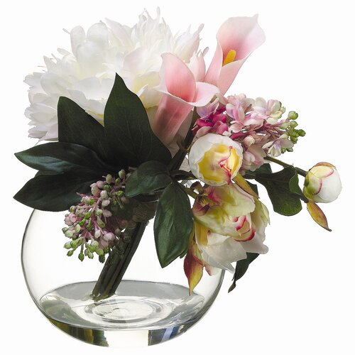 Peony, Lilac Bouquet in Glass Vase