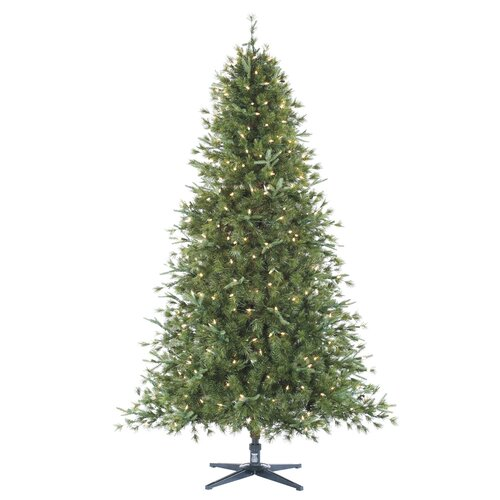 Allstate Floral 7.5' Green Pine Artificial Christmas Tree with 450 Smart Clear Lights with Stand