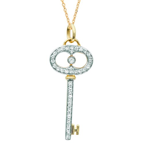 Silver on the Rocks Oval Key Pendant in Yellow Gold and Silver