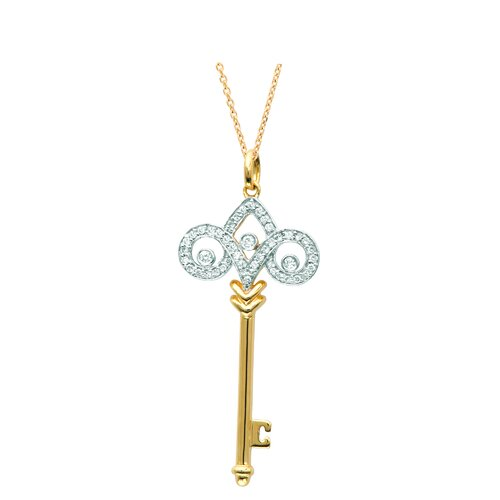 Silver on the Rocks Classic Fleur De Lis Pendant in Yellow Gold and Silver