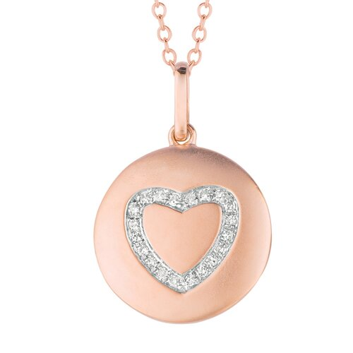14k Gold 0.1ct TDW Diamond Round Heart Disc Pendant